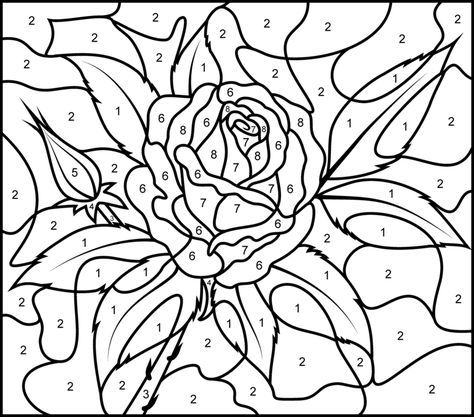 Rose Printable Color By Number Page Hard Rose Coloring Pages Coloring Pages Color By Numbers