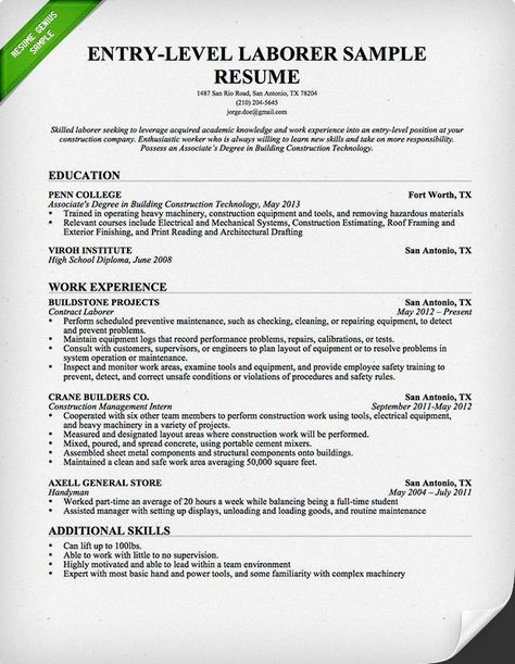 Free Resume Builder LABOR Pinterest Resume builder and - heavy equipment repair sample resume