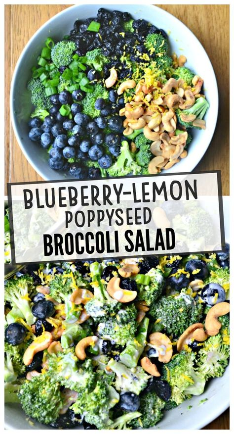 Salad Recipes 86905467795873162 - Blueberry Lemon Poppyseed Broccoli Salad – Make the Best of Everything Source by sflamm Healthy Salad Recipes, Vegetarian Recipes, Cooking Recipes, Healthy Broccoli Salad, Grilled Vegetable Salads, Fruit Salads, Broccoli Salad Recipes, Salad With Fruit, Dinner Salad Recipes