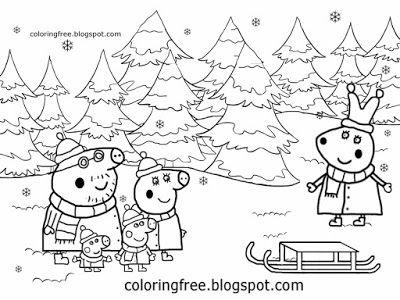 Xmas Shop Buying Trees Frozen Forest Drawing Rabbit Peppa Pig Christmas Coloring Page Peppa Pig Coloring Pages Coloring Pictures For Kids Coloring Pages Winter
