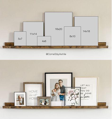 Picture Shelves, Diy Picture Rail, Picture Ledge Shelf, Photo Shelf, Picture Frame Decor, Modern Picture Frames, Picture Walls, Photo Wall, Home Living Room