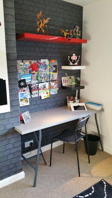 big boys room brick wallpaper funky grey boys bedroom chimney breast desk - Brick Kids Room Decor