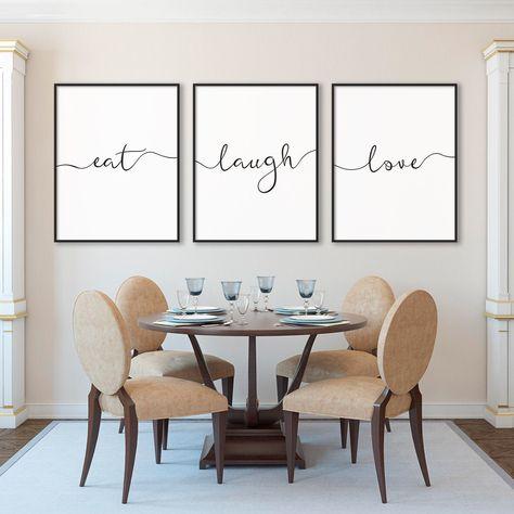 Eat Laugh Love Print Set of Three Calligraphy Prints Home Wall Art Kitchen Decor Dining Room Decor Hostess Gift Poster Decor Printable Art