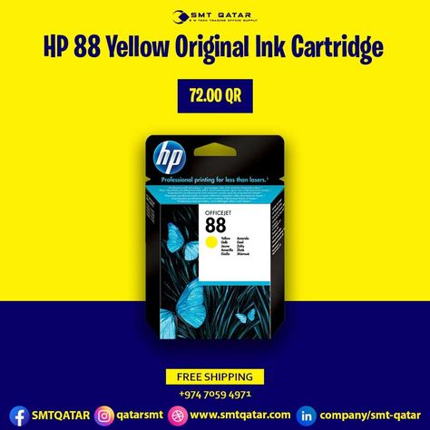 HP 88 Yellow Original Ink Cartridge with free shipping all over Qatar.