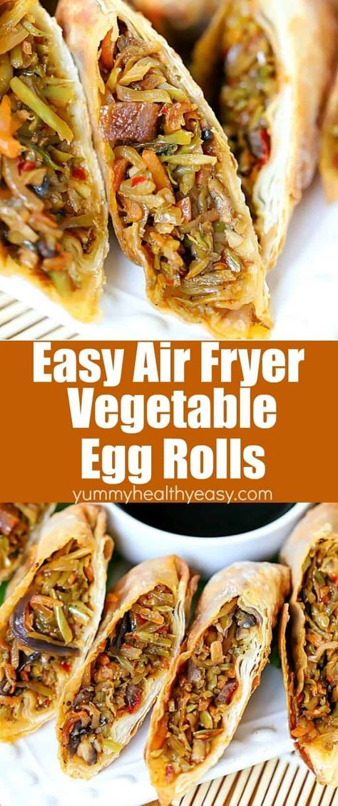 Homemade Vegetable Egg Roll Recipe #eggrolls This delicious Homemade Vegetable Egg Roll Recipe is made healthier by being fried in the Air Fryer! Each egg roll is filled with healthy broccoli slaw, mushrooms, water chestnuts and Asian spices all wrapped in egg roll wrappers. They're super easy to make and only require a few ingredients. You will fall head over heels for this egg roll recipe! #appetizer #snack #recipe #eggroll #chinese #chinesefood #easy #simple #airfryer