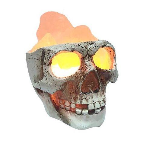 Lucktao 3D USB Skull Himalayan Salt Lamp , LED Adjustable Skull Lamp with Dimmer Switch,Best Ideal Gift ,Holiday Gift Halloween Skull Desk lamp - Pink Orange