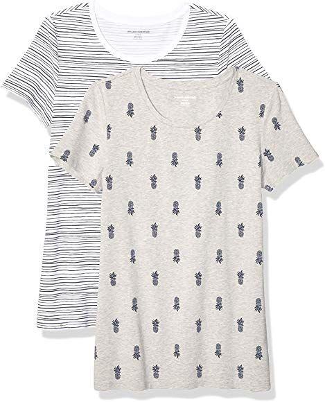Essentials Womens 2-Pack Classic-Fit Short-Sleeve Crewneck T-Shirt