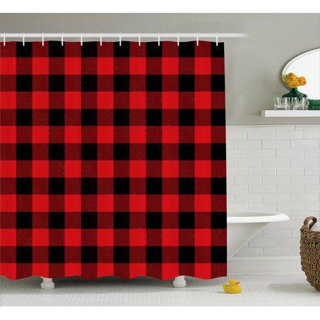 Home Plaid Shower Curtain Bathroom Interior Design Fabric Shower Curtains