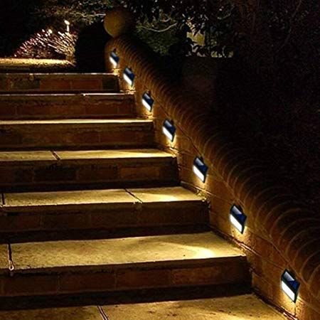 6 Pack Solar Powered Wall Lights Solar Stair Lights Outdoor 6 Led Step Light Wall Mount Garde Step Lighting Outdoor Solar Lights Garden Outdoor Stair Lighting