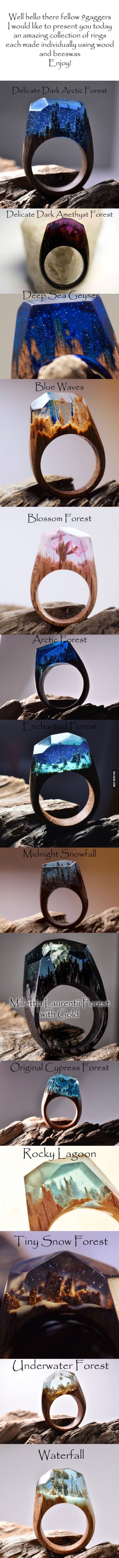 These Wooden Rings Hold Tiny Worlds Within Them - Inside each of these wooden rings is a beautiful hidden world