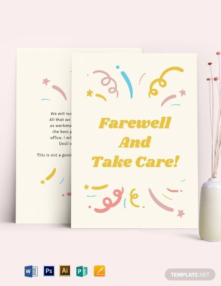 Office Farewell Card Template Free Pdf Word Psd Apple Pages Illustrator Publisher Farewell Cards Card Templates Printable Business Card Template Design