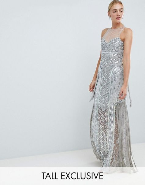 fef8456cd55 A Star is Born Tall Embellished Maxi Dress with Iridescent Sequins ...