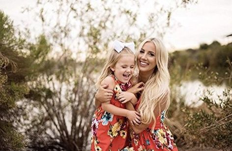 Mommy & Me Floral Dress Set, Mommy Sizes Small - XLarge, Daughter Sizes 3 - 10 years - Daughter 9/10 Years