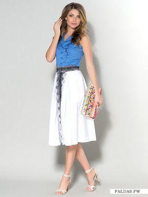 ddb40840a Faldas Blancas   Faldas   Faldas, Moda y Faldas blancas