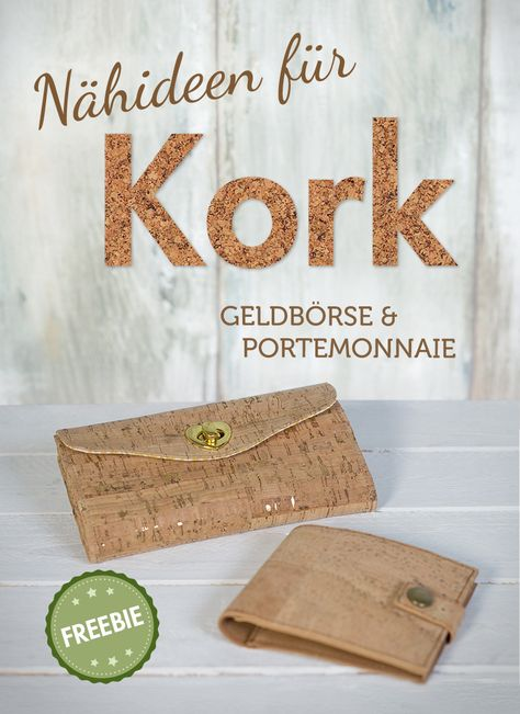 DIY Tutorial Geldbörse nähen aus Kork - Portemonnaie & Brieftasche (mit Schnittmuster + Nähvideo) | pattydoo
