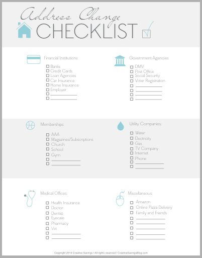 FREE Address Change Checklist Address change, Big move and Free - sample new apartment checklist