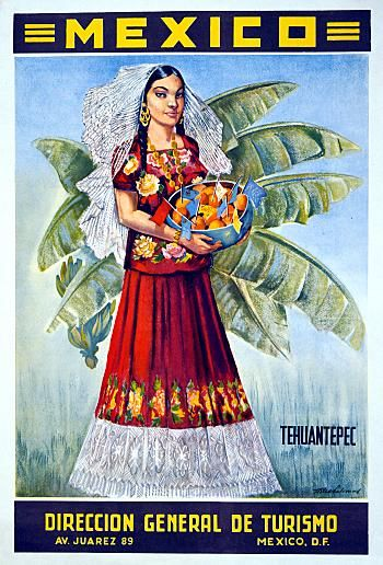 16x24 1950s Mexico Hispanic Girl with Fruit Vintage Style Travel Poster