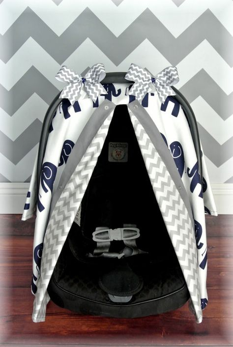 NEW ELEPHANTS carseat canopy car seat cover by JaydenandOlivia