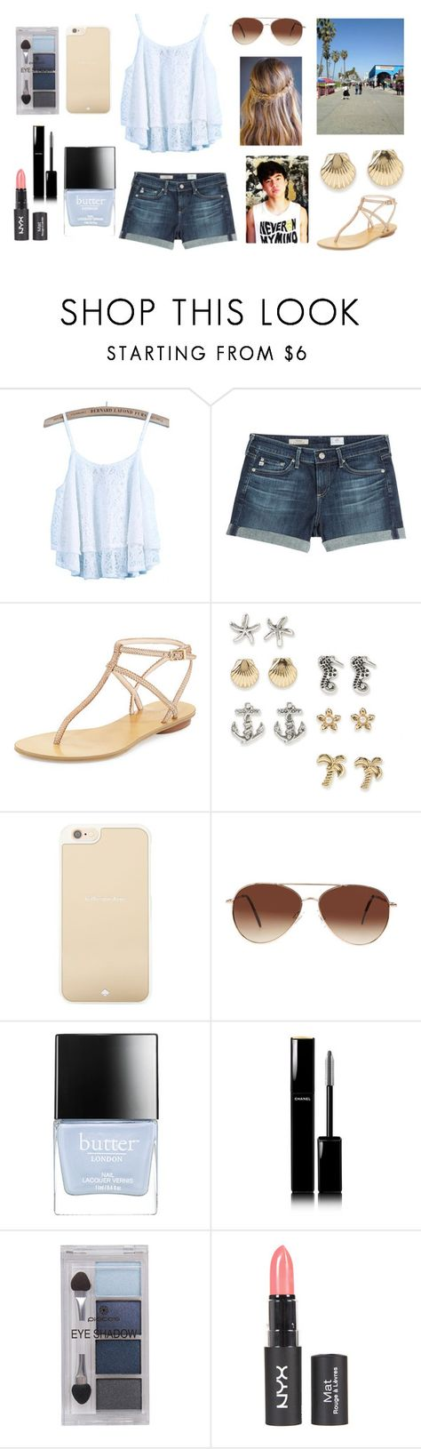 """""""LA Boardwalk with Calum"""" by sarahorantomlinson ❤ liked on Polyvore featuring AG Adriano Goldschmied, Pelle Moda, Aéropostale, Kate Spade, Eloquii, Butter London, Chanel and Pieces"""