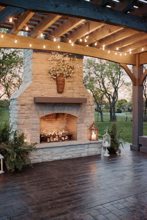 Outdoor Fireplace, Backyard Fireplace, Backyard Inspiration, House Exterior, House Design, Future House, Patio Design, Backyard Decor
