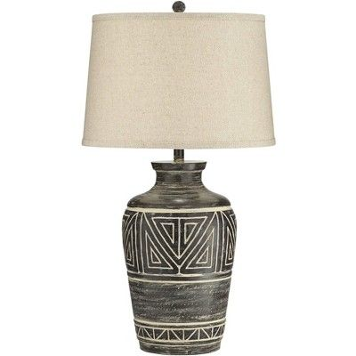 John Timberland Rustic Table Lamp Southwest Earth Tone Linen Drum Shade For Living Room Bedroom Bedside Nightstand Office Family Rustic Table Lamps Jar Table Lamp Bedside Night Stands