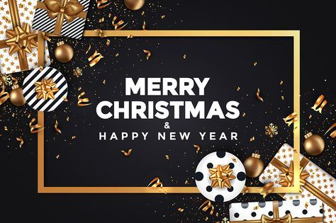 Stylish Modern Merry Christmas And Happy New Year 2018 Cards With Label Winter Design With Golden Ornaments Gift Boxes And Snowflakes On Dark Background Holid
