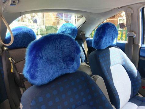 Phenomenal Royal Blue Fluffy Faux Fur Car Headrest Covers 1 Pair Inzonedesignstudio Interior Chair Design Inzonedesignstudiocom