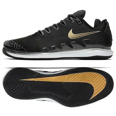 Ebay Sponsored Nike Air Zoom Vapor X Knit Ar0496 003 Black White Gold Men S Tennis Shoes Black Athletic Shoes Sneakers Men Mens Tennis Shoes