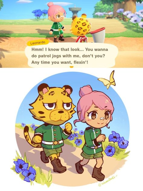 I liked the idea of Leonardo and I patrolling in matching military uniforms so I drew it out :) - AnimalCrossing Animal Crossing Fan Art, Animal Crossing Characters, Animal Crossing Memes, Animal Crossing Villagers, Animal Crossing Pocket Camp, Video Games Funny, Anime Animals, My Animal, Military Uniforms
