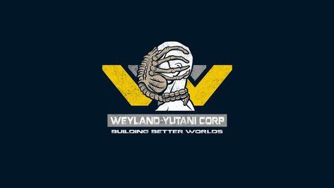 HD wallpaper: Weyland-Yutani Corp, aliens, blue background, graphics, logos