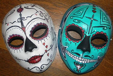 Example of decorated papier mache sugar skull masks