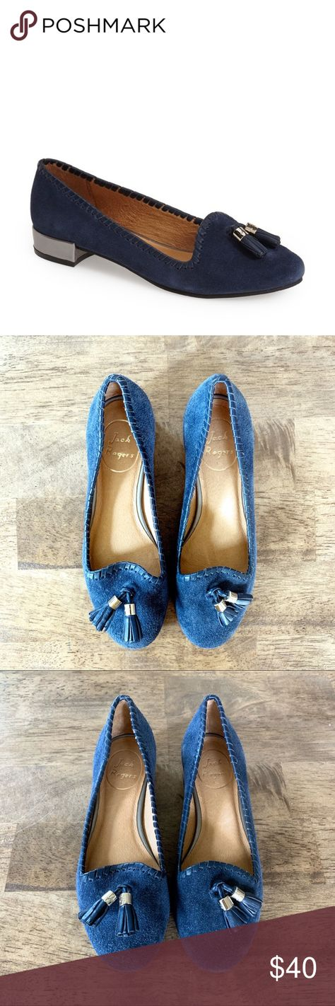 Jack Rogers Gabrielle loafers -new without box -size 5.5 -whip stitch detailing -metallic trim on block heel -heel 1 inch  -blue suede -leather lining -tassel detail on toe Jack Rogers Shoes Flats & Loafers