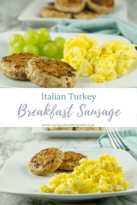 Italian Turkey Sausage Patties- These homemade patties are quick and easy to make and I show you step by step how to make these great additions to your breakfast table!  Great for meal prep, because you can make the entire pound and just grab them quickly for a quick breakfast or snack each day! #mealprep #quickbreakfast