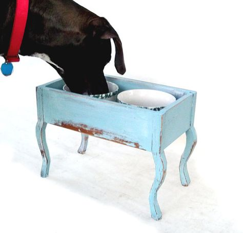 Upcycled Shabby Chic Dog Bowl Stand Holder Or By Leapinglemming