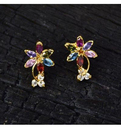 793a8812408d3 Gold Plated Seven Semi Precious Stones Floral Ear Studs | Stud ...