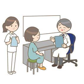 診察をする医師 お医者さん と中年女性患者さんのイラストです 医師は問診票を持ち 看護師さんが側で立っています リクエスト素材 カラー 白黒の素材を無料でダウンロードし そのまま資料やブログに活用できます 看護師 イラスト集 は 看護roo が運営する