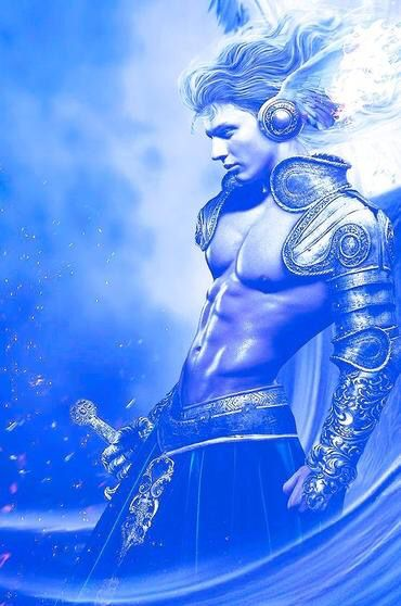 Male Sirian Warrior ~ Crescent Moon & Galaxy Pendant | Other