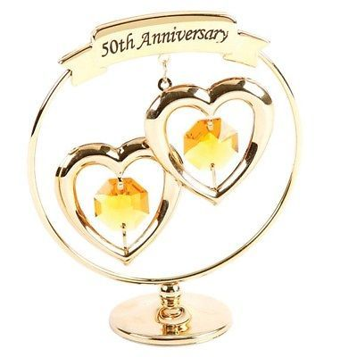 Crystocraft Golden Wedding 50th Anniversary Swarovski Crystal Cake Topper Decor 50th Anniversary Gold 50th Anniversary Gifts 50 Golden Wedding Anniversary