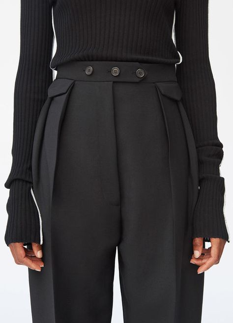 Rounded trousers in mohair and wool | CÉLINE