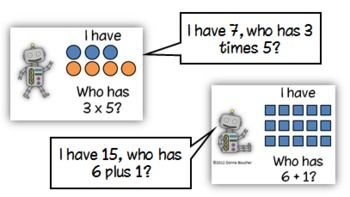 Common Core: I Have/Who Has Addition and Multiplication Models