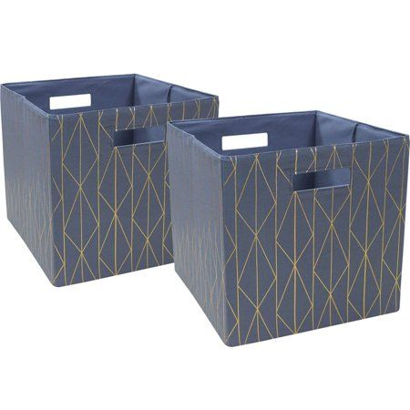 Buy Better Homes And Gardens Fabric Cube Storage Bins 12 75 X 12 75 Set Of 2 Multiple Colors At Walmart Cube Storage Bins Storage Bins Craft Room Storage