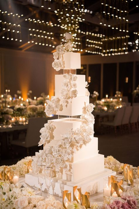 wedding cake with square tiers lucite accents white sugar flowers rose design 6 Tier Wedding Cakes, Glamorous Wedding Cakes, Fancy Wedding Cakes, Square Wedding Cakes, Luxury Wedding Cake, Wedding Cake Roses, Wedding Cakes With Flowers, Beautiful Wedding Cakes, Dream Wedding