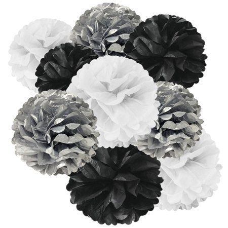 Wrapables Set of 9 Tissue Pom Pom Party Decorations for Weddings, Birthday Parties Baby Showers and Nursery Decor, Black/Silver/White Black And White Party Decorations, Silver Party Decorations, Graduation Decorations, Birthday Party Decorations, White Decor, Masquerade Ball Decorations, Black And White Centerpieces, Paper Pom Poms, Tissue Paper