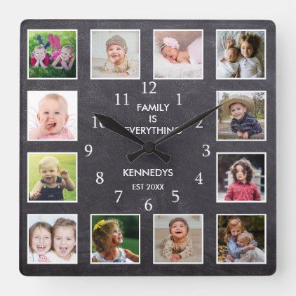 Personalized 12 Photo Collage Frame Chalkboard Square Wall Clock Zazzle Com Framed Photo Collage 12 Photo Collage Photo Collage