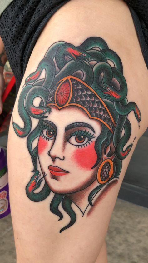 #ladytattooer #femaletattooartist #femaletattoo #femaletattoosgallery #medusatattoo #greekmythology #tattoos #thightattoo #colorfultattoo #prettytattoos #boldtattoo #traditionaltattoo
