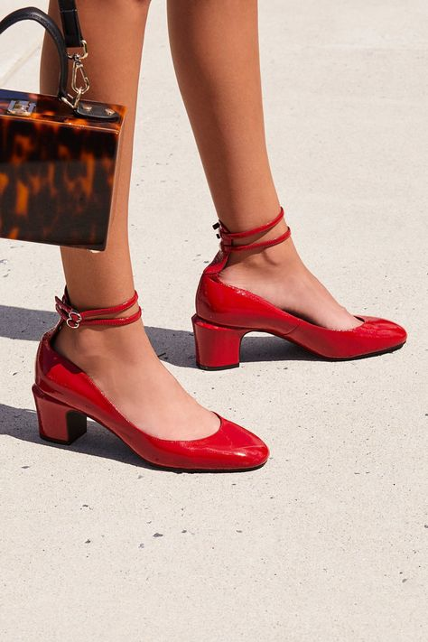 f78d8f6b312d Lana Block Heel   Free People - Petite Red Heel with Ankle Strap