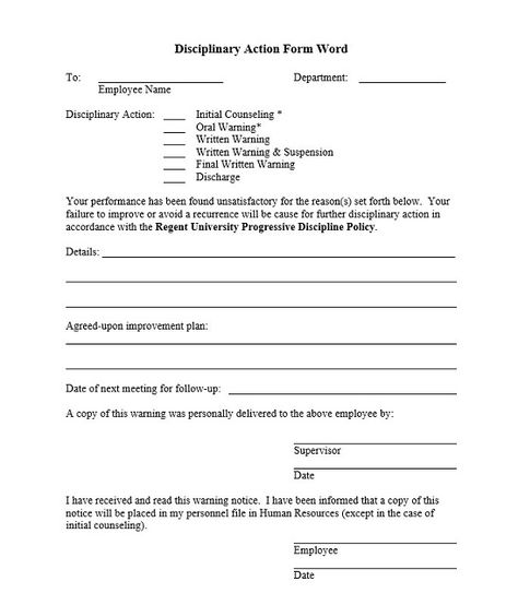 Disciplinary Action Form Word In 2021 Form Words Template Printable