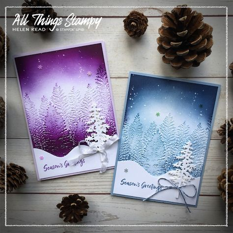 Simple Christmas Cards, Homemade Christmas Cards, Stampin Up Christmas, Xmas Cards, Homemade Cards, Holiday Cards, Embossed Christmas Cards, Evergreen Forest, Embossed Cards