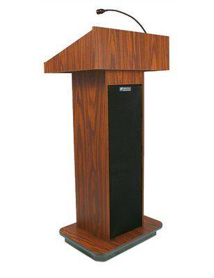 Amplivox Sound Systems Wired Executive Column Lectern Wireless Sound System Light Oak Brass Lamp