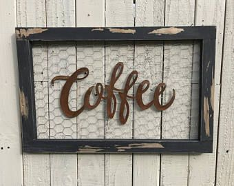 Chicken wire sign Coffee Bar Sign Metal Coffee Sign Farmhouse Decor Farmhouse Signs Fixer Upper Style Rustic Home Decor Kitchen Decor by CharaWorks on Etsy Kitchen Signs, Home Decor Kitchen, Rustic Kitchen, Decorating Kitchen, Chicken Kitchen Decor, Kitchen Shelves, Chicken Wire Crafts, Chicken Wire Frame, Farmhouse Signs